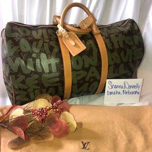 Keepall 50 LV limited edition dark green graffiti